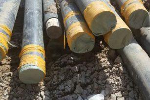 银古路20回200管径电力管施工现场